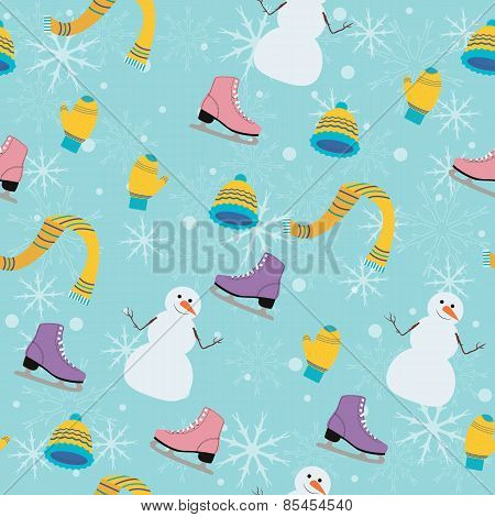 Winter Seamless Pattern With Snowman On Turquoise Background.