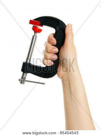 Clamp in hand on white background.