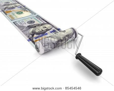 Paint roller and dollar (clipping path included)