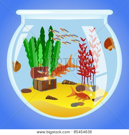 Illustration Of Aquarium With Fishes, Algae And Decorations