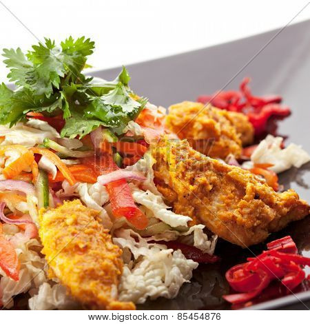Indian Cuisine - Chicken Korma Salad with Curry Sauce