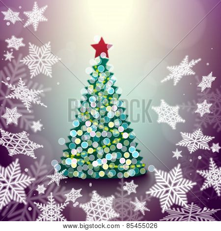 Illustration Of Christmas Tree Abstract Background With Snowflak