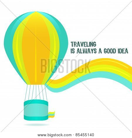 Colorful Hot Air Balloon On A White Background Vector