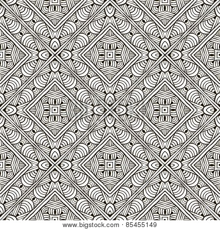 Abstract hand-drawn monochrome seamless pattern.