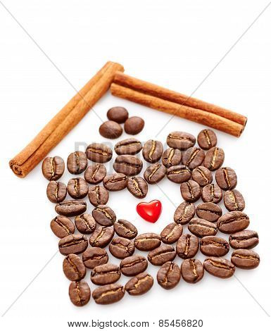 Coffee Beans, Heart, Cinnamon Sticks On White Background