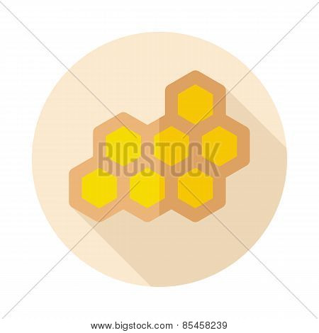 Honeycomb Bee Flat Icon With Long Shadow