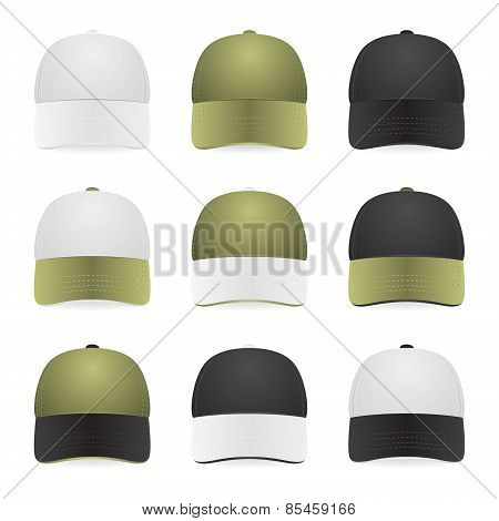 Nine Two-color Caps With White, Khaki And Black Colors. Isolated On White