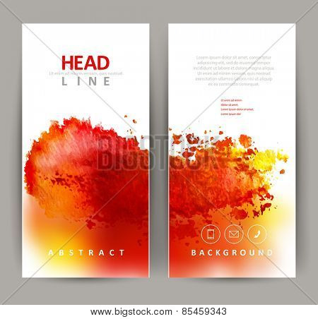 set of two banners, abstract headers with red blot