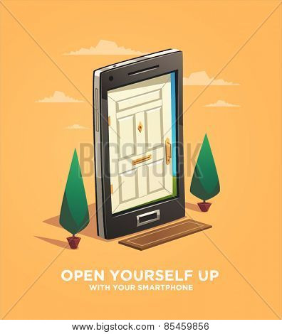 Open yourself up with your smartphone. Vector illustration.