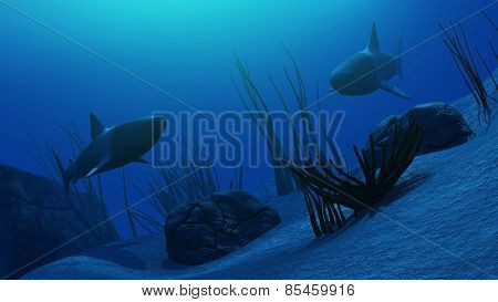 3D render of an underwater sceme with sharks