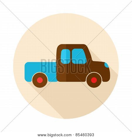 Pickup Truck Flat Icon With Long Shadow