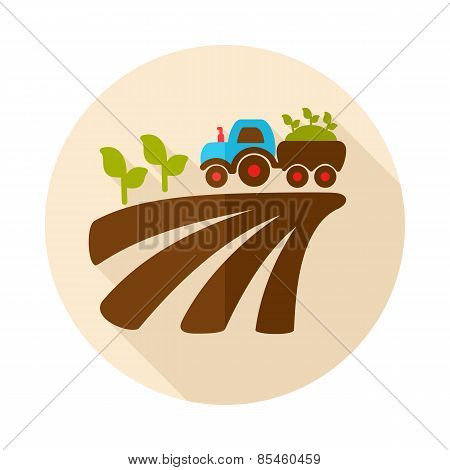 Tractor On Field Harvest Seedling Flat Icon