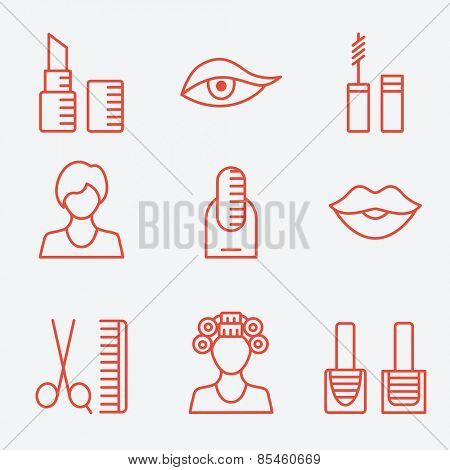 Woman female makeup cosmetic product, thin line icons, flat design
