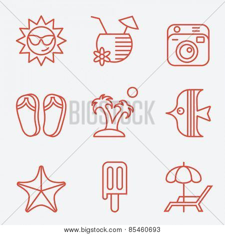 Travel and beach icons, thin line style, flat design