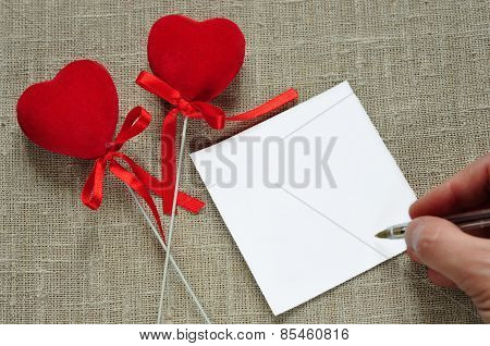Hearts and a note.