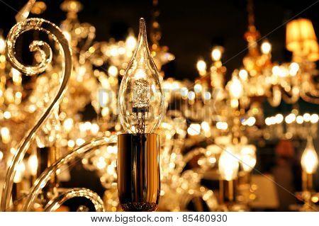 Lamp  chandelier close-up. Light decoration concept.