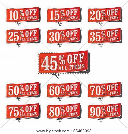 Set Of Retail Coupons