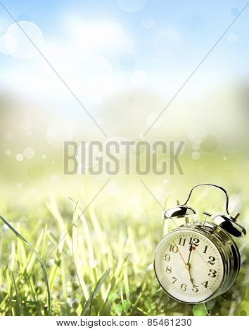 Alarm clock in spring field