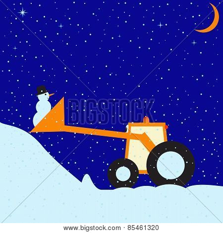Funny Tractor And Snowman