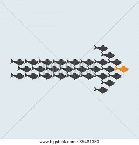 School Of Grey Fish Swimming In Shape Of Arrow