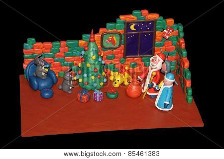 Plasticine Rabbits Decorate A Christmas Tree For The Arrival Of Santa Claus
