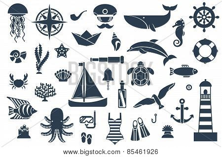 Flat icons with sea creatures and symbols.