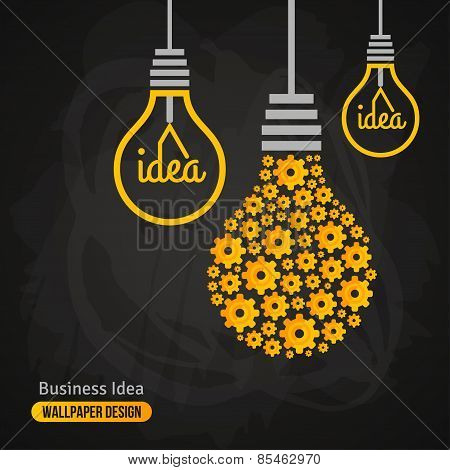Light Bulb with Gears Pattern on Blackboard Background.