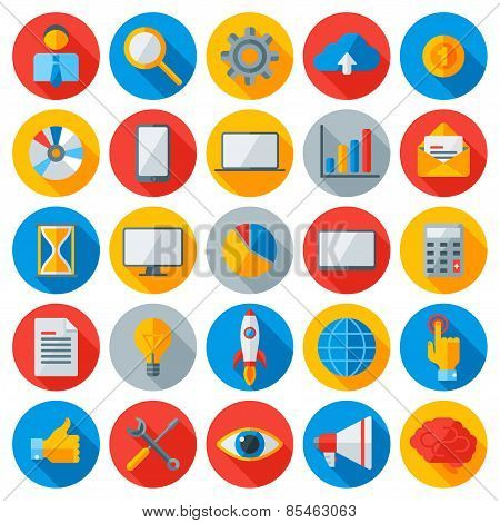 Flat business and mobile technology icons.