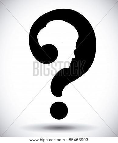 doubt design over gray background vector illustration