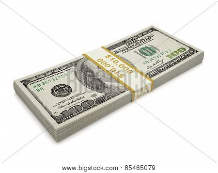 Isolated  Pack Of One Hundred Dollar Bill