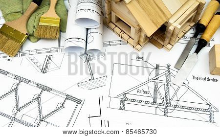 Repair work. Joiner's works. Drawings for building, working tools and wooden house.