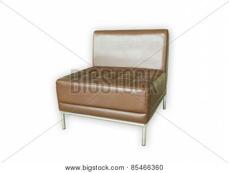 Brown Sofa On A White Background.