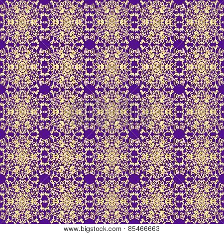 Seamless Background With Vintage Gold Ornament On A Purple