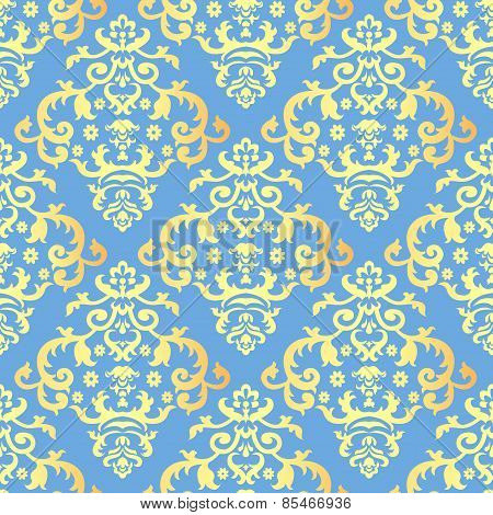 Seamless Background With Vintage Gold Ornament On Blue