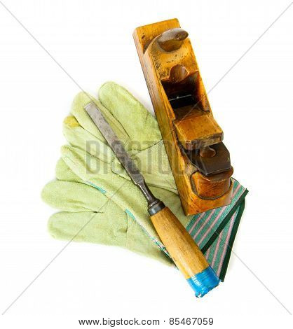 Vintage working tools on white background.