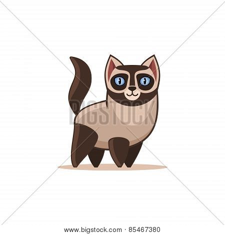 Siamese Cat Isolated on the White Background. Vector
