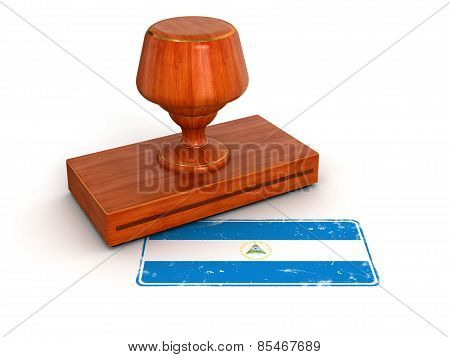 Rubber Stamp Nicaragua flag (clipping path included)