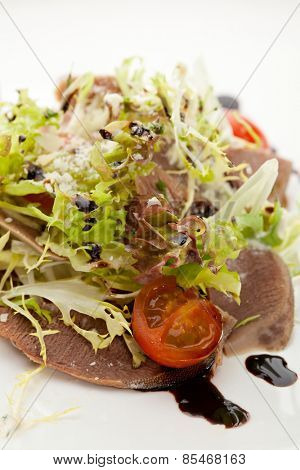 Beef Tongue Salad with Fresh Vegetables and Balsamic Sauce
