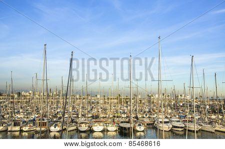 Yacht marina. Sailboat harbor. Luxury lifestyle.
