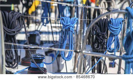 Ropes. Sailing yacht rigging. Ship tackles.