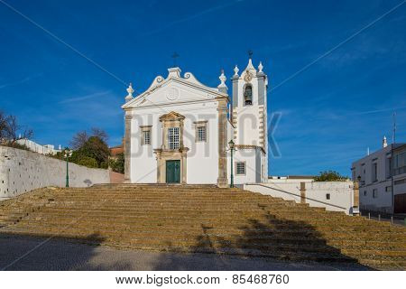 Estoi (Faro district), Algarve, Portugal, Europe - Low angle view of Sao Martinho church in estoi village