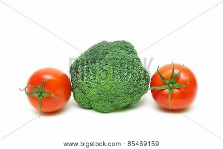 Broccoli And Cherry Tomatoes Isolated On A White Background Close-up