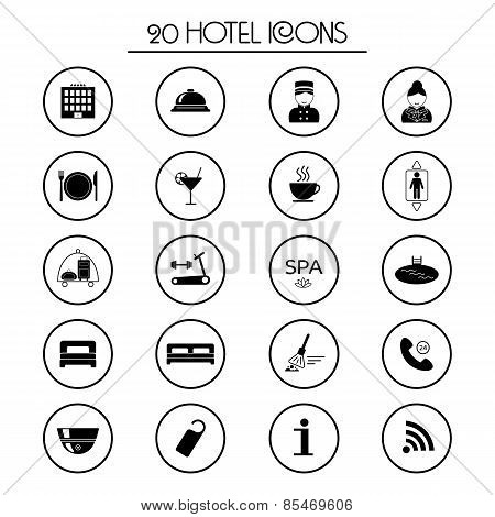 20 Hotel Services Icons. Isolated. Vector