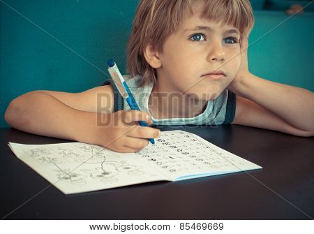 Dreaming Boy During Doing Homework