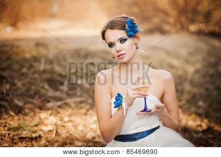 Cute Girl With A Glass Of Wine