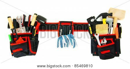 Many working tools in the carrying case on white background.