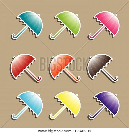 Set of colorful Umbrellas. Vector illustration