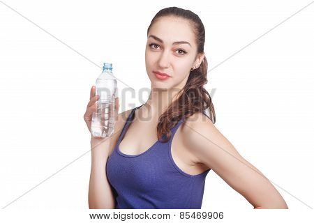 Beautiful Athletic Girl Looks Hold A Bottle