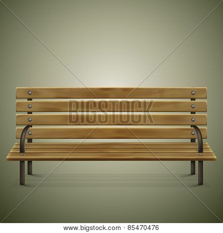 Wooden Detailed Bench On Green.
