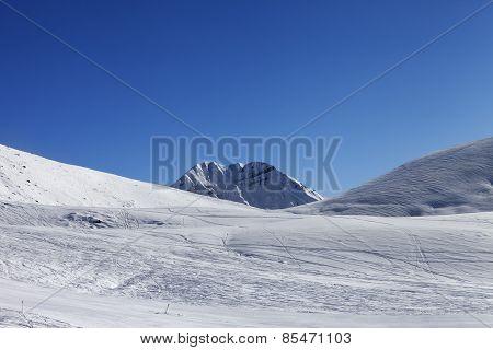 Ski Slope At Nice Sunny Day